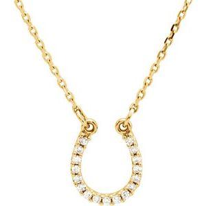 "14K Yellow .07 CTW Diamond Horseshoe 16"" Necklace"