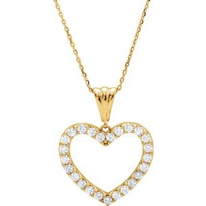 "14K Yellow 1 CTW Diamond Heart 18"" Necklace"