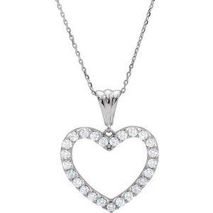 "14K White 1/2 CTW Diamond Heart 18"" Necklace"
