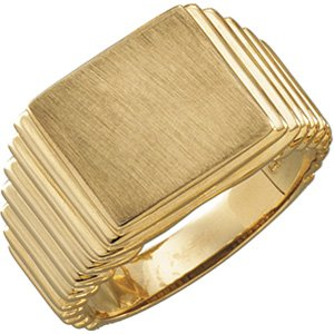 14K Yellow 14x13 mm Rectangle Signet Ring