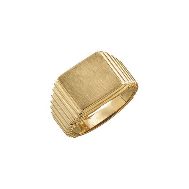 14K Yellow 14x13 mm Rectangle Signet Ring