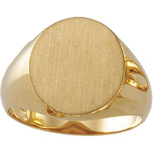18K Yellow 16x14 mm Oval Signet Ring
