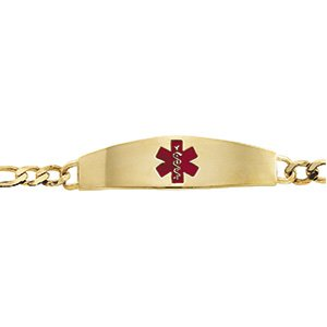"14K Yellow & Red Enamel Medical Identification 8"" Bracelet"
