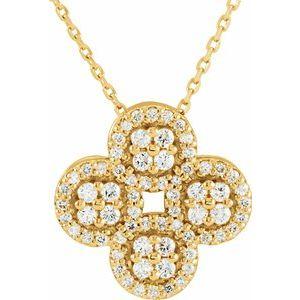 "14K Yellow 1/2 CTW Diamond Clover 18"" Necklace"