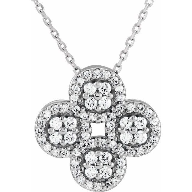 14K White 1/2 CTW Diamond Clover 18
