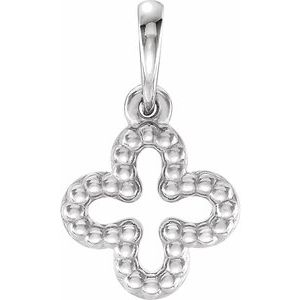Sterling Silver Beaded Clover Pendant