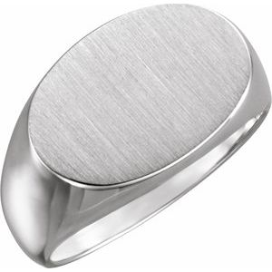 Sterling Silver 18x12 mm Oval Signet Ring
