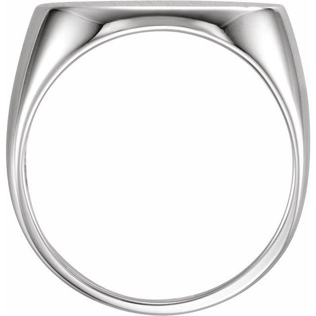 14K White 18x12 mm Oval Signet Ring
