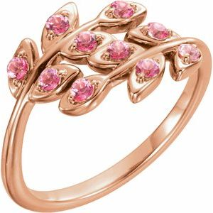 14K Rose Baby Pink Topaz Leaf Design Ring