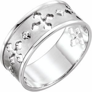 14K White Pierced Cross Ring