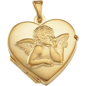 14K Yellow 17.5x18.5 mm Heart Angel Locket