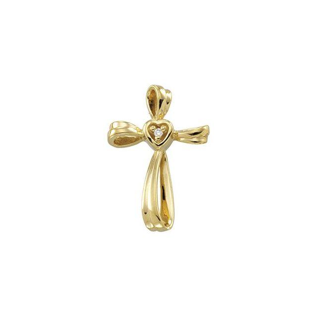 14K Yellow .015 CTW Diamond Cross Pendant