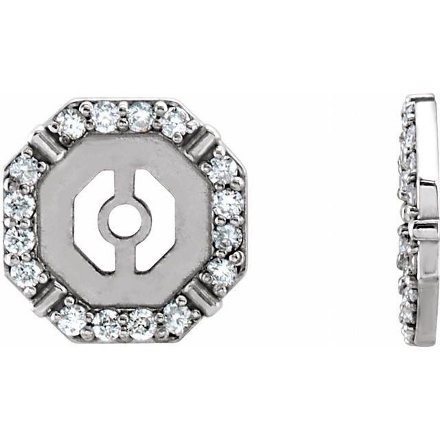 14K White 1/8 CTW Diamond Earring Jackets