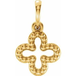 14K Yellow Beaded Clover Pendant