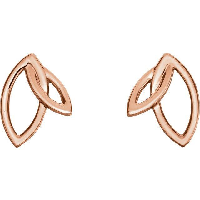 14K Rose Double Leaf Earrings