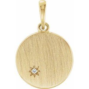 14K Yellow .005 CTW Diamond Engravable Pendant