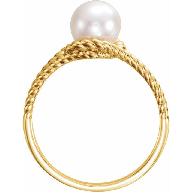 14K Yellow 7 mm White Freshwater Pearl Rope Ring