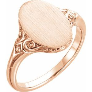 14K Rose 13x9 mm Oval Signet Ring