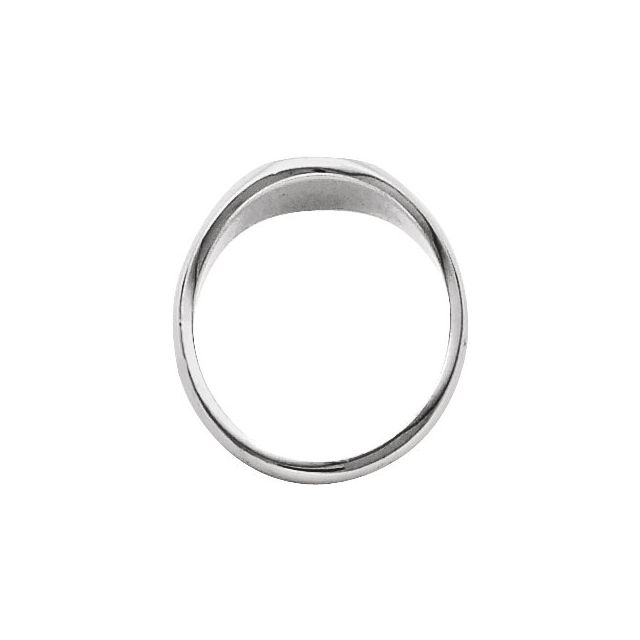 14K White 13x11 mm Oval Signet Ring