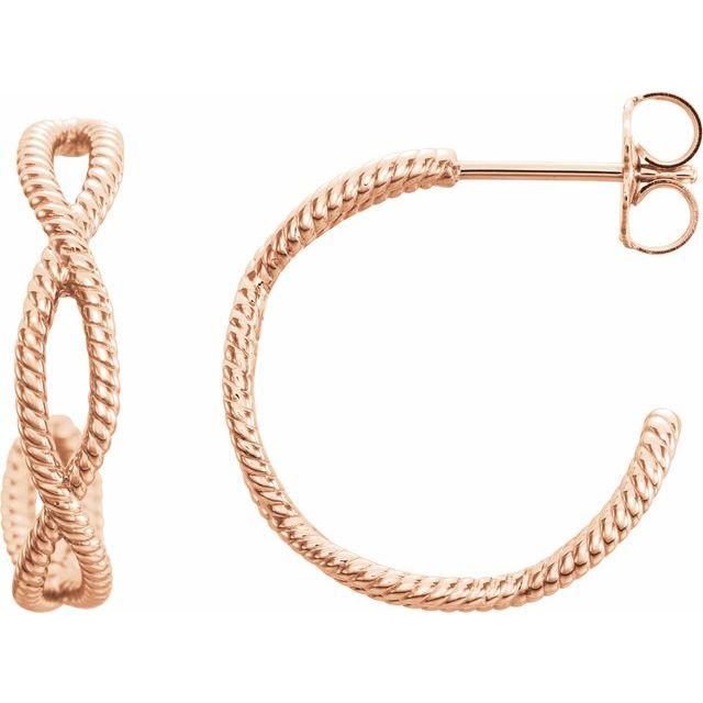 14K Rose 20x4 mm Rope Hoop Earrings