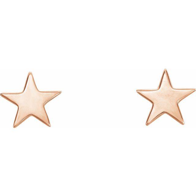 14K Rose Star Earrings