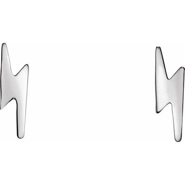 14K White Lightning Bolt Earrings