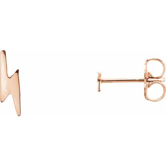 14K Rose Lightning Bolt Earrings