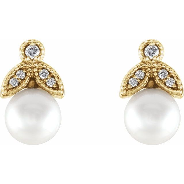 14K Yellow Freshwater Pearl & .06 CTW Diamond Earrings