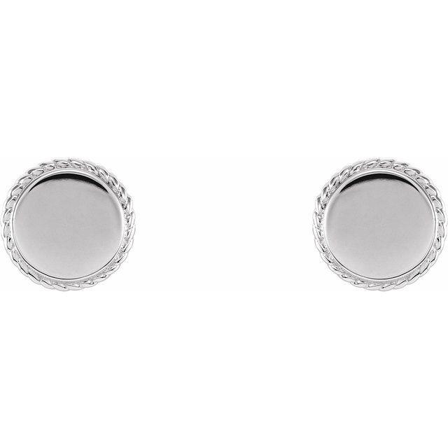 Sterling Silver Engravable Rope Earrings