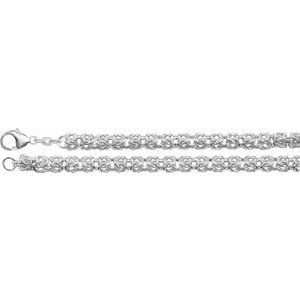 "Sterling Silver 6 mm Byzantine 16"" Chain"