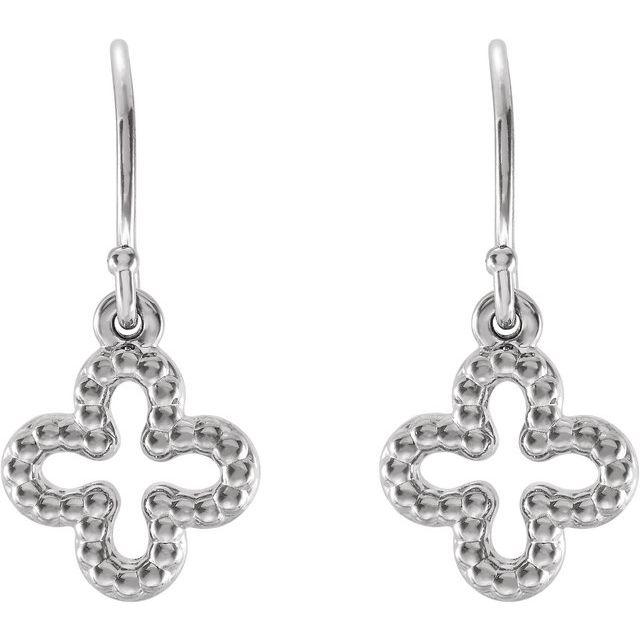 Sterling Silver Beaded Clover Earrings