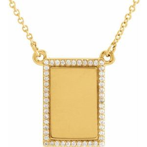 "14K Yellow 1/8 CTW Diamond Bar 18"" Necklace"