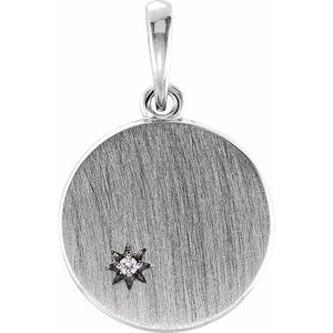 Sterling Silver .005 CTW Diamond Engravable Pendant
