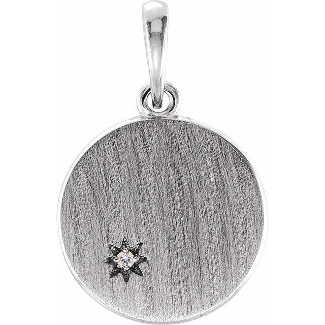 Sterling Silver .005 CTW Diamond Engravable Pendant