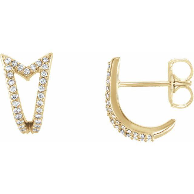 14K Yellow 1/6 CTW Diamond Geometric J-Hoop Earrings