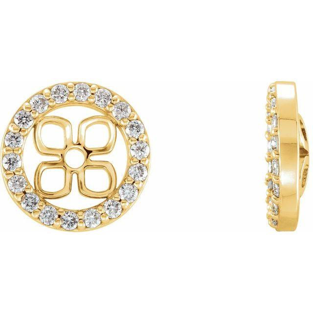 14K Yellow 8 mm ID 3/8 CTW Diamond Earring Jackets
