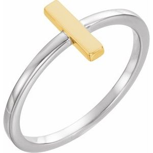 14K White & Yellow Bar Ring