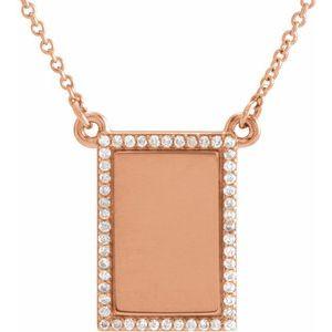"14K Rose  1/8 CTW Diamond Bar 18"" Necklace"