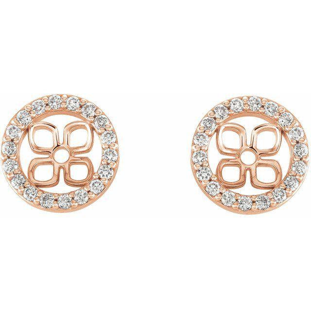 14K Rose 6 mm ID 1/6 CTW Diamond Earring Jackets