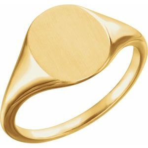18K Yellow 11x9 mm Oval Signet Ring