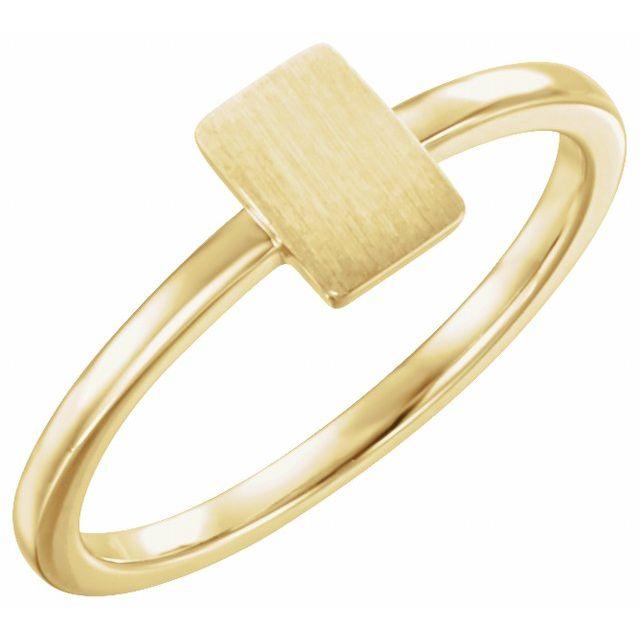 14K Yellow 7x5 mm Rectangle Signet Ring