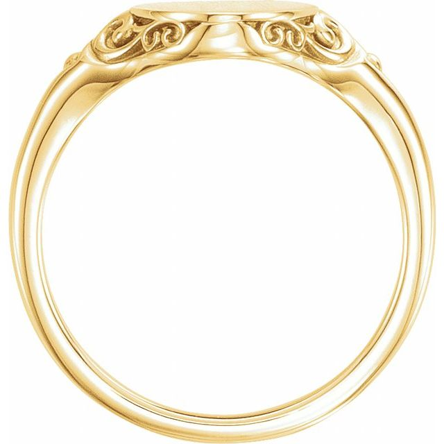 14K Yellow 13x9 mm Oval Signet Ring
