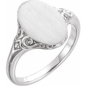 14K White 13x9 mm Oval Signet Ring