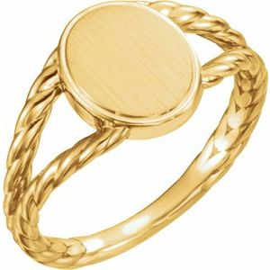 14K Yellow 11x9 mm Oval Rope Signet Ring