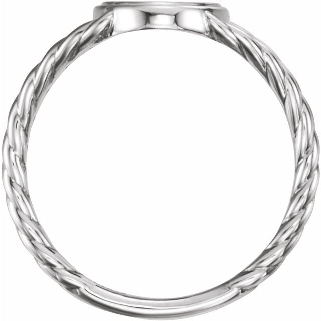 Sterling Silver 11x9 mm Oval Rope Signet Ring