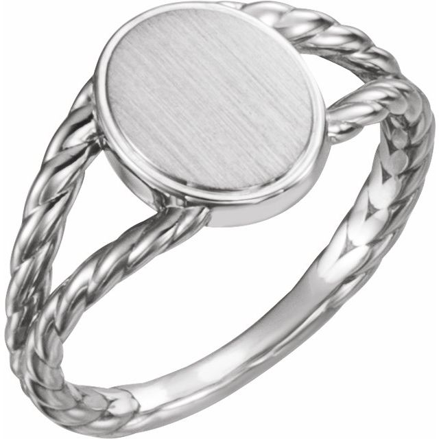 14K White 11x9 mm Oval Rope Signet Ring