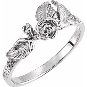 14K White Floral-Inspired Ring