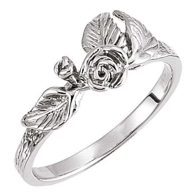 14K White Floral-Inspired Ring