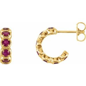 14K Yellow Chatham® Created Ruby Hoop Earrings
