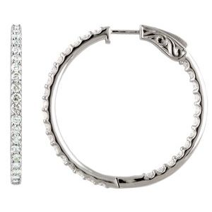 14K White 5 CTW Diamond Inside-Outside 41.5 mm Hoop Earrings